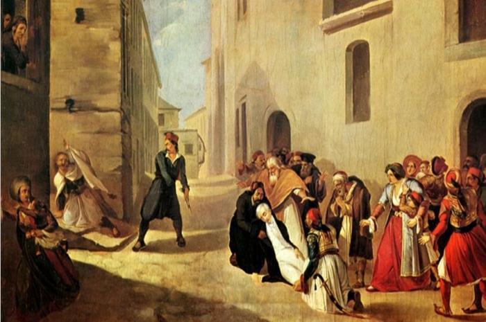 πίνακας που αναπαριστά την δολοφονία του Καποδίστρια