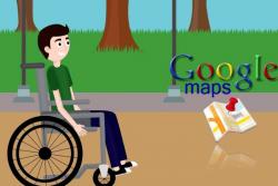 σκίτσο: άνδρας σε αμαξίδιο σε εξωτερικό χώρο και σήμα google maps