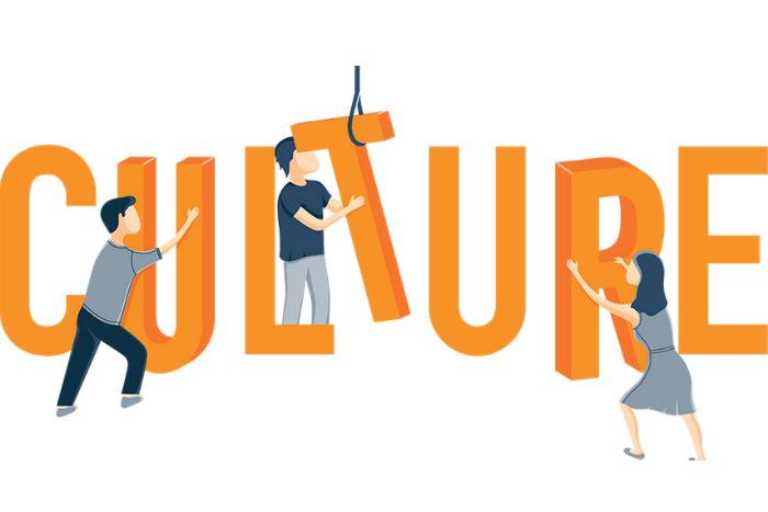 η λέξη Culture και ανθρωπάκια που τοποθετούν τα γράμματα