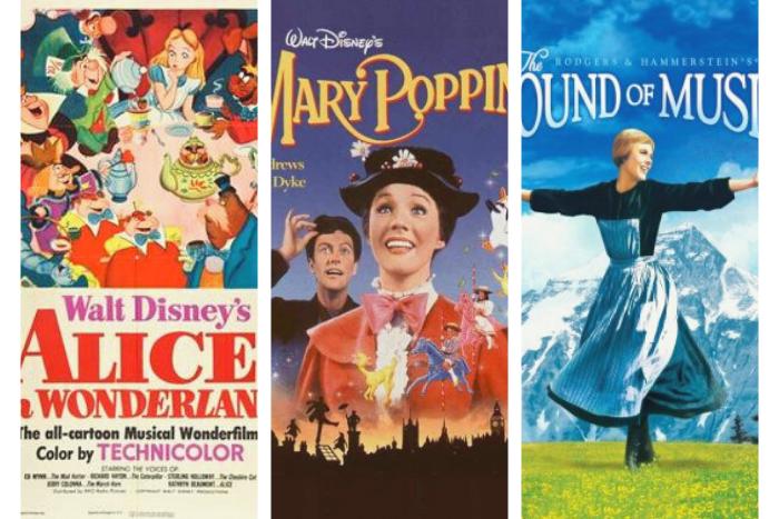 εξώφυλλα ταινιών: 1. η Αλίκη στη χώρα των θαυμάτων 2. Μαίρη Πόπινς 3. η μελωδία της ευτυχίας