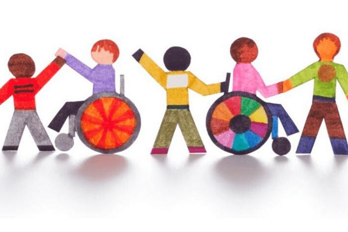 σκίτσο παιδιών με αναπηρία και παιδιών χωρίς αναπηρία που κρατιούνται από το χέρι