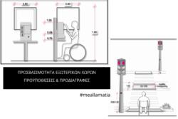 Σχεδιάγράμματα προσβασιμότητας εξωτερικών χώρων και άτομο με αμαξίδιο στο σκίτσο