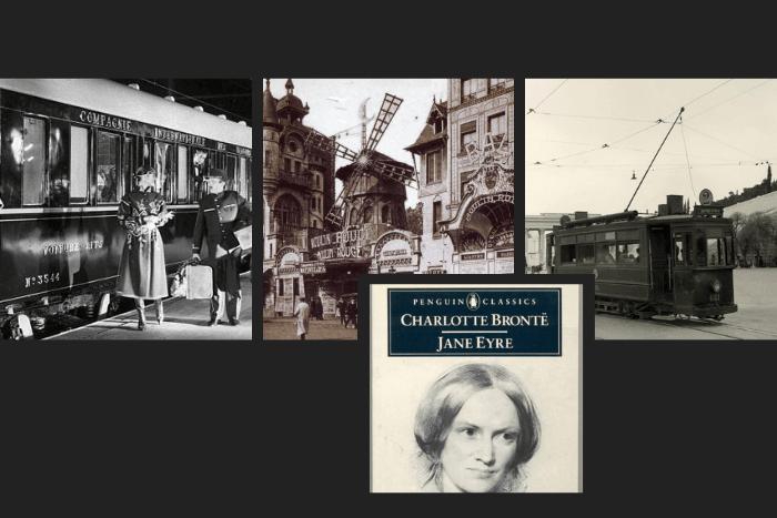 Κολάζ φωτογραφιών με το βιβλίο της Τζέην Έιρ, Παρθενικό ταξίδι του όριεν εξπρές, άνοιγμα Μουλέν Ρουζ και τα πρώτα ηλεκτρικά τραμ της Αθήνας