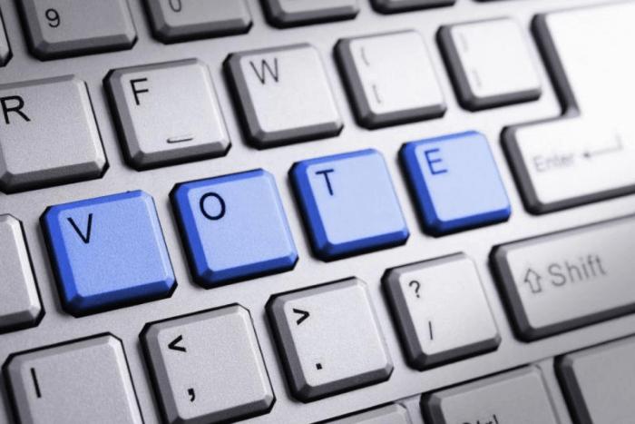 πληκτρολόγιο που σχηματίζει τη λέξη vote