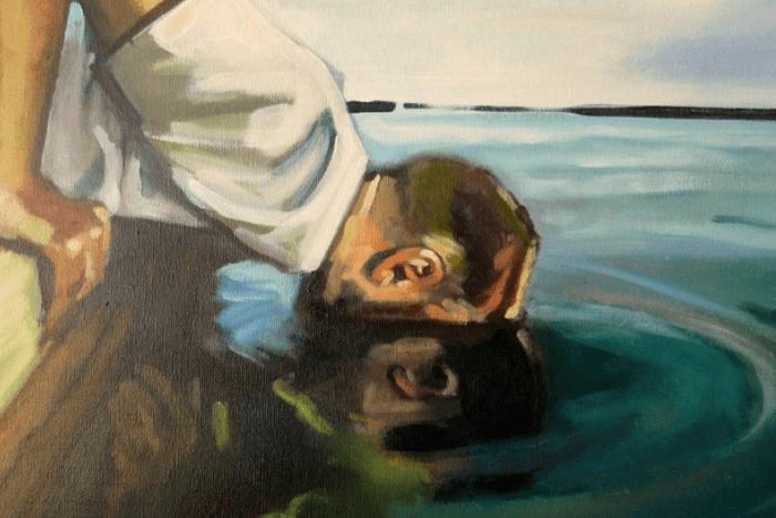 Από το Μύθο: ο Νάρκισσος προσπάθησε να αγγίξει το όμορφο πρόσωπο που καθρεφτιζόταν στο νερό, έπεσε μέσα στη λίμνη και πνίγηκε.