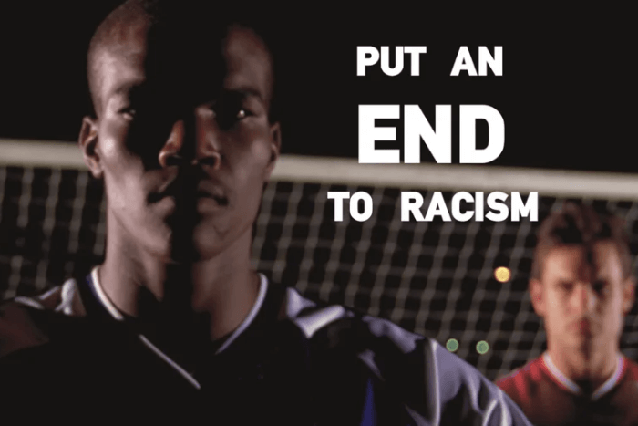 """στιγμιότυπο από το βίντεο """"put an end to racism"""""""