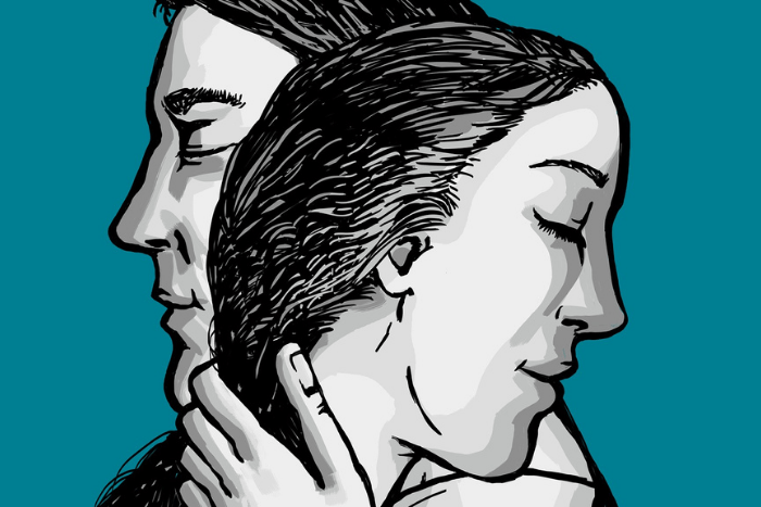 Σκίτσα δύο ανθρώπων που είναι αγκαλιασμένοι