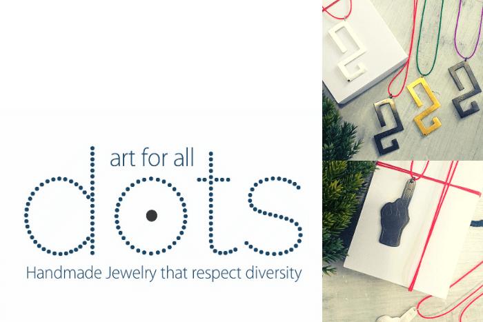 """λογότυπο """"Dots. Art for all."""" και φωτογραφίες από δύο σχέδια κοσμημάτων"""