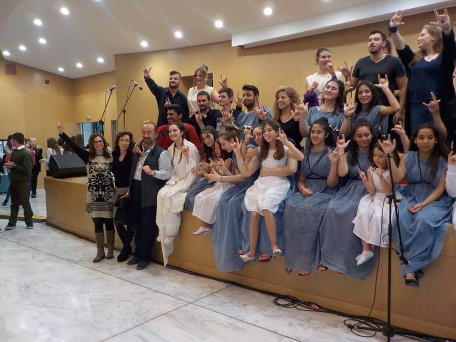 Ο Χρυσόστομος Παπασπύρου με συναδέλφους και μαθητές του σχολείου μας και μαθητές της Ριζαρείου Εκκλησιαστικής Σχολής στην εκδήλωση του Υπουργείου Παιδείας για την Παγκόσμια Ημέρα ΑμεΑ.
