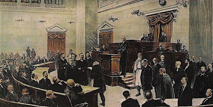 Παλαιά Βουλή, ο Χαρίλαος Τρικούπης ενημερώνει την εθνοσυνέλευση
