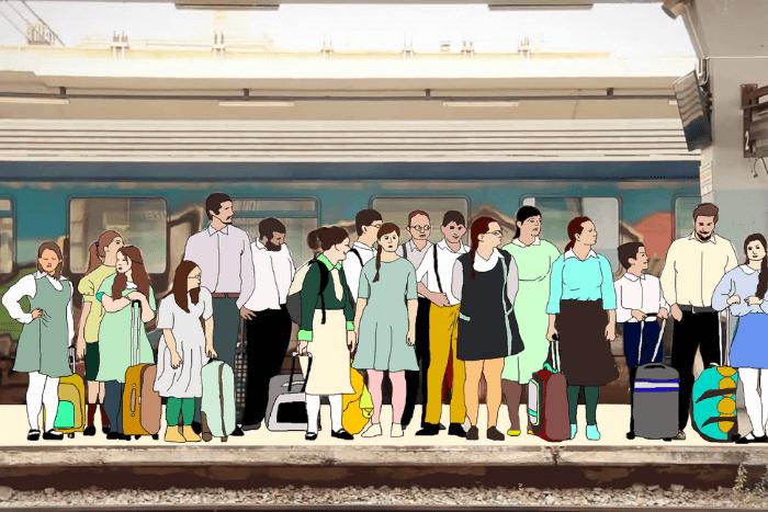 σκίτσο πολλών ανθρώπων σε σταθμό τρένου με αποσκευές