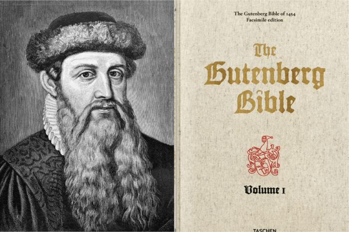 """Ο Γουτεμβέργιος και δίπλα εξώφυλλο από το βιβλίο του """"Βίβλος του Γουτεμβέργιου"""""""