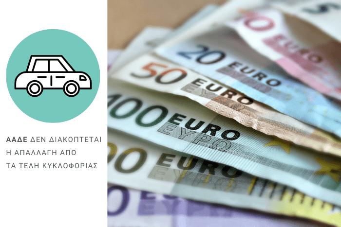 Χαρτονομίσματα Ευρώ και εικονίδιο αυτοκινήτου