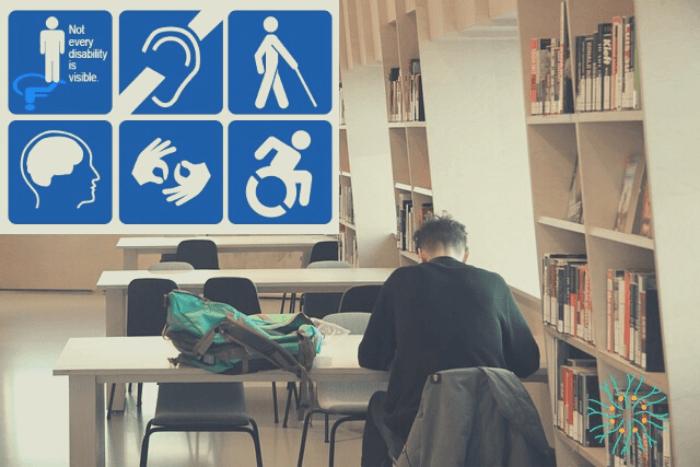Φοιτητής διαβάζει σε βιβλιοθήκη και πάνω αριστερά στη φωτογραφία εικονίδια της κάθε αναπηρίας