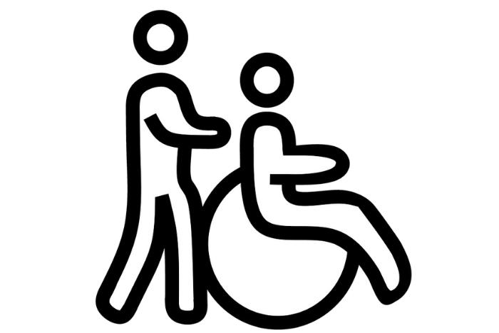 εικονίδιο άνθρωπος κινεί άλλον άνθρωπο σε αναπηρικό αμαξίδιο