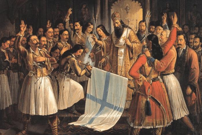 Ο Παλαιών Πατρών Γερμανός ευλογεί τη σημαία της επανάστασης, ενώ οι Έλληνες επαναστάτες ορκίζονται στο Θεό για αυτήν. Θεόδωρος Βρυζάκης, 1865.[1] Απεικόνιση του θρύλου της Αγίας Λαύρας.