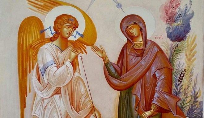 Αγιογραφία με απεικόνιση τον Ευαγγελισμό της Θεοτόκου