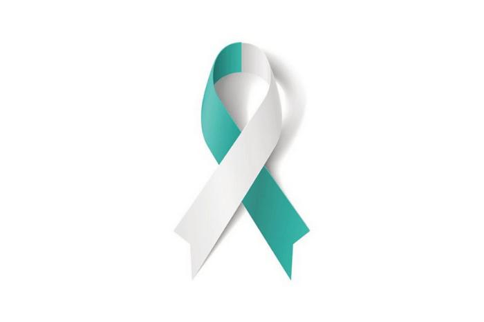 κορδέλα σύμβολο του καρκίνου της μήτρας μισή λευκή και μισή γαλαζοπράσινη