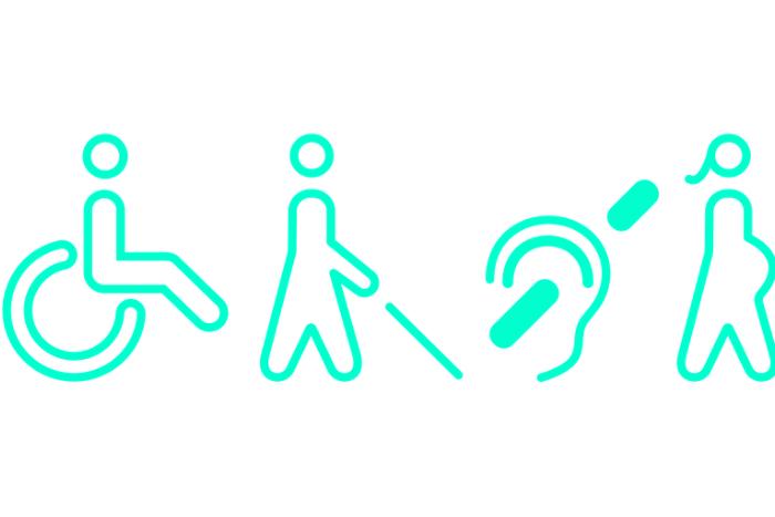 ανθρωπάκια (σκίτσα) με αναπηρία: κινητική αναπηρία, οπτική αναπηρία, ακουστική αναπηρία.