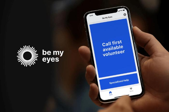"""Κινητό τηλέφωνο με ανοιχτή την εφαρμογή be my eyes """"Call first available volunteer"""""""
