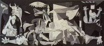 "O Πίνακας του Πικάσο ""Γκουέρνικα"". Φιγούρες ανθρώπων και ζώων σε άσπρο, μαύρο και γκρι."