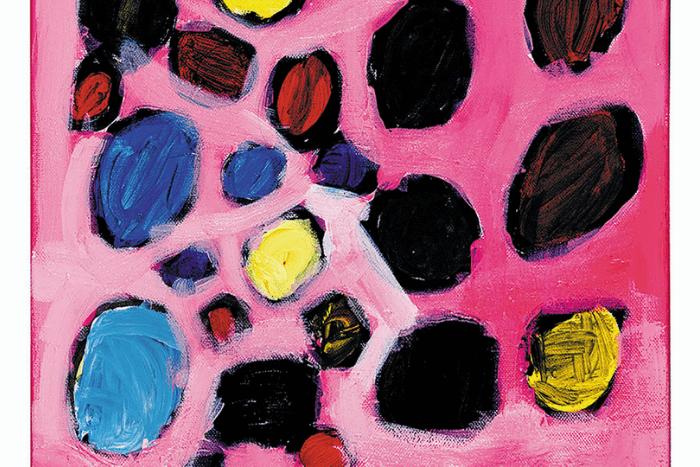 έργο με φόντο σε αποχρώσεις του ροζ και κουκίδες ζωγραφισμένες πάνω στο φόντο