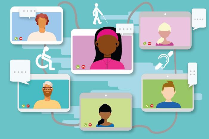 Εικονίδια ανθρώπων(σκίτσα) που βρίσκονται σε τηλεδιάσκεψη και σήματα αναπηρικά. Ανθρωπάκι σε αμαξίδιο, ανθρωπάκι με λευκό μπαστούνι και αυτή με μια γραμμή ενδιάμεσα.