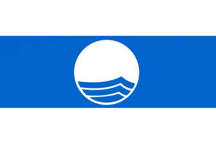"""Το σήμα που έχουν οι παραλίες με γαλάζια σημαία """"ένας λευκός κύκλος που μέσα απεικονίζεται ένα κυματάκι"""", ο κύκλος βρίσκεται σε μπλε φόντο."""