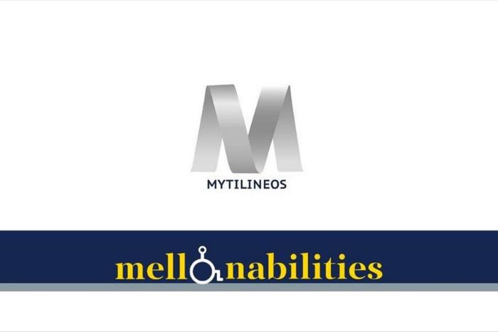 """Το λογότυπο της MITILINEOS και η λέξη """"Mellonabilities""""με το """"ο"""" να το σχηματίζει ένα αναπηρικό σήμα."""