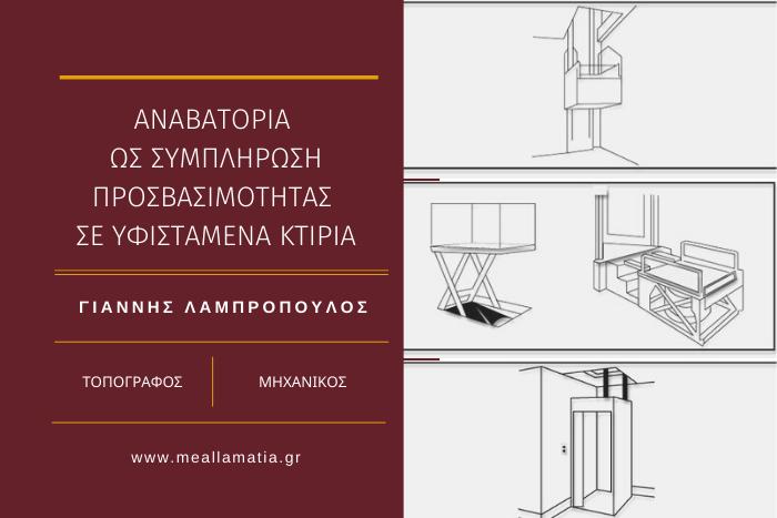 Τρεις εικόνες/σχεδιαγράμματα από αναβατόρια κατακόρυφης κίνησης και τίτλος άρθρου/Γιάννης Λαμπρόπουλος Τοπογράφος Μηχανικός