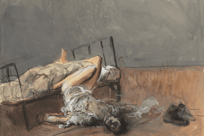 Πίνακας ζωγραφικής: Σώμα ανθρώπου πεσμένο από το κρεβάτι. Μόνο τα πόδια πάνω στο κρεβάτι και λίγο πιο δίπλα ένα ζευγάρι παπούτσια