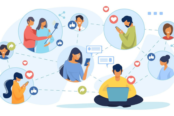 Εικονίδια γυναικών και ανδρών με κινητά, λάπτοπ, σελφοκόνταρα που ενώνονται μεταξύ τους με γραμμές και αλληλοεπιδρούν. Δίπλα από το κάθε εικονίδιο ανθρώπου υπάρχουν και emoji όπως καρδούλες και hands up.