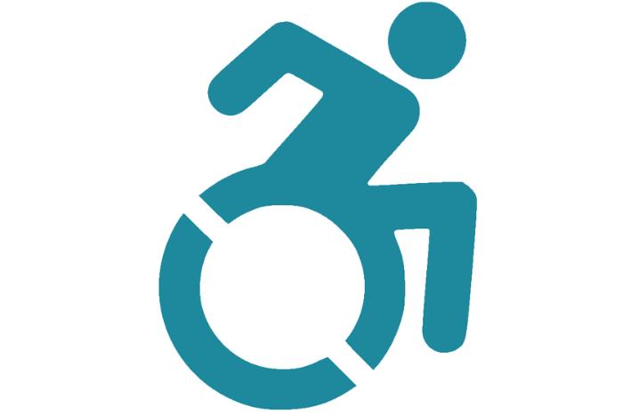 αναπηρικό σήμα σε μπλε χρώμα