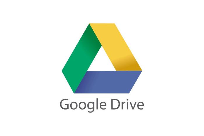 Το λογότυπο του google drive: Ένα τρίγωνο με διαφορετικά χρώματα κάθε πλευρά κίτρινο, πράσινο, μπλε