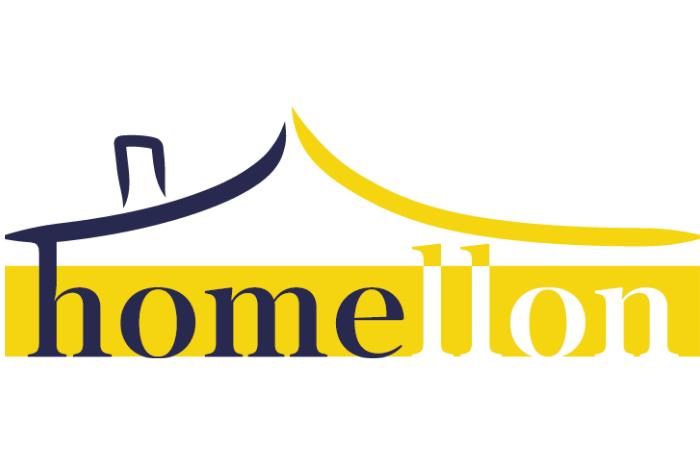 """Το λογότυπο του homello: ένα σκίτσο που σχηματίζει ένα σπίτι και η λέξη """"homellon"""""""