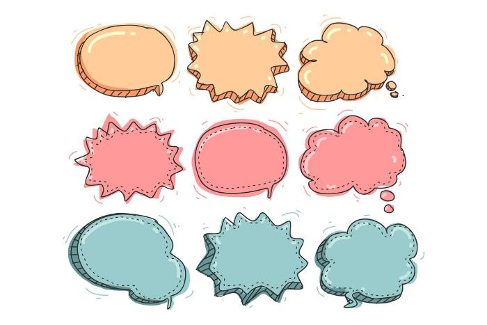 Συννεφάκια που βάζουμε στις εικόνες όταν θέλουμε να δείξουμε ότι κάποιος μιλάει. Σε χρώμα κίτρινο, ροζ και γαλάζιο 3 από το κάθε χρώμα.