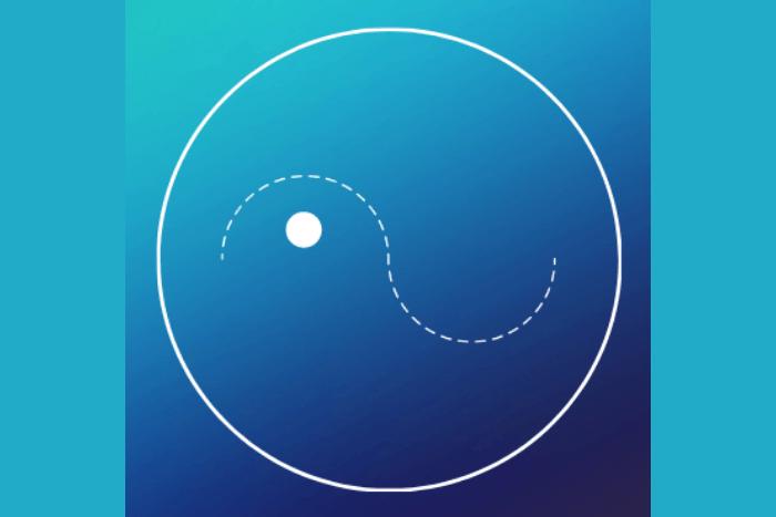λογότυπο του Swi.me ένα κυκλάκι που με διακεκομμένες γραμμές αναπαριστάτε μια φιγούρα που κολυμπάει. Αποχρώσεις μπλε και γαλαζοπράσινου