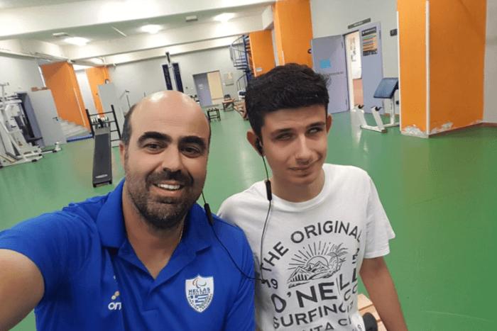 Ο Κωνσταντίνος Τσαγκατάκης με τον προπονητή Γιώργο Βαρβεράκη