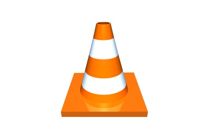 Λογότυπο του Vlc Media Player ένας κώνος οδικής σήμανσης