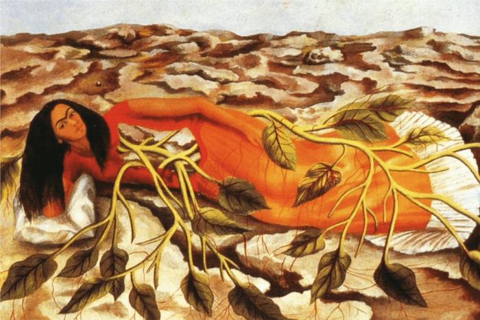 H αυτοπροσωπογραφία της, Roots (1943) ξαπλωμένη ανάμεσα σε κλαδιά δέντρων