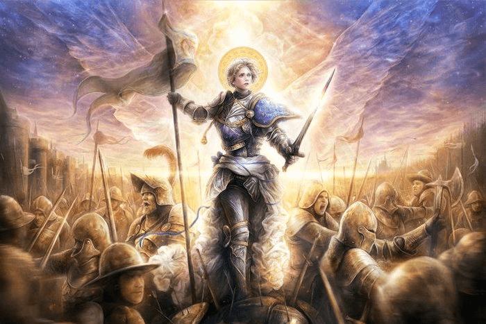 Πίνακας ζωγραφικής που αποτυπώνει την Ιωάννα της Λωραίνης στη μάχη κρατώντας το λάβαρο της επανάστασης. Βρίσκεται στο κέντρο του πίνακα με μια λάμψη τριγύρω της και γύρω γύρω της άνδρες πολεμάνε.