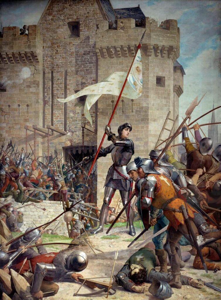 Πίνακας ζωγραφικής που αποτυπώνει την Ιωάννα της Λωραίνης στη μάχη κρατώντας το λάβαρο της επανάστασης.