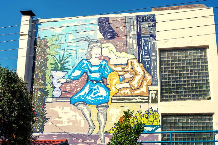 Τοιχογραφία του Ερωτόκριτου και της Αρετούσας στο 104ο Δημοτικό της Πανόρμου