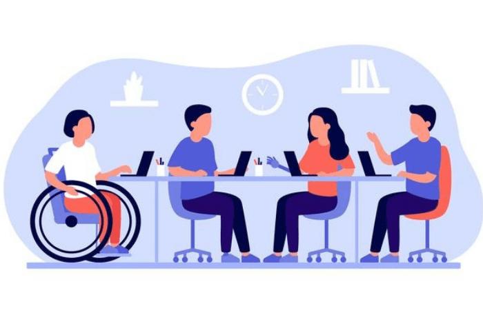Εικονίδια ανθρώπων με και χωρίς αναπηρία σε κοινό τραπέζι εργασίας με λάπτοπς
