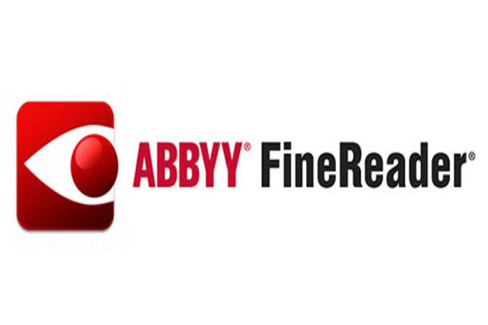Το λόγκο του λογισμικού. Κόκκινο σχέδιο σαν μάτι με τις λέξεις ABBYY σε κόκκινο και τις λέξεις FineReader σε μαύρο. Λευκό φόντο