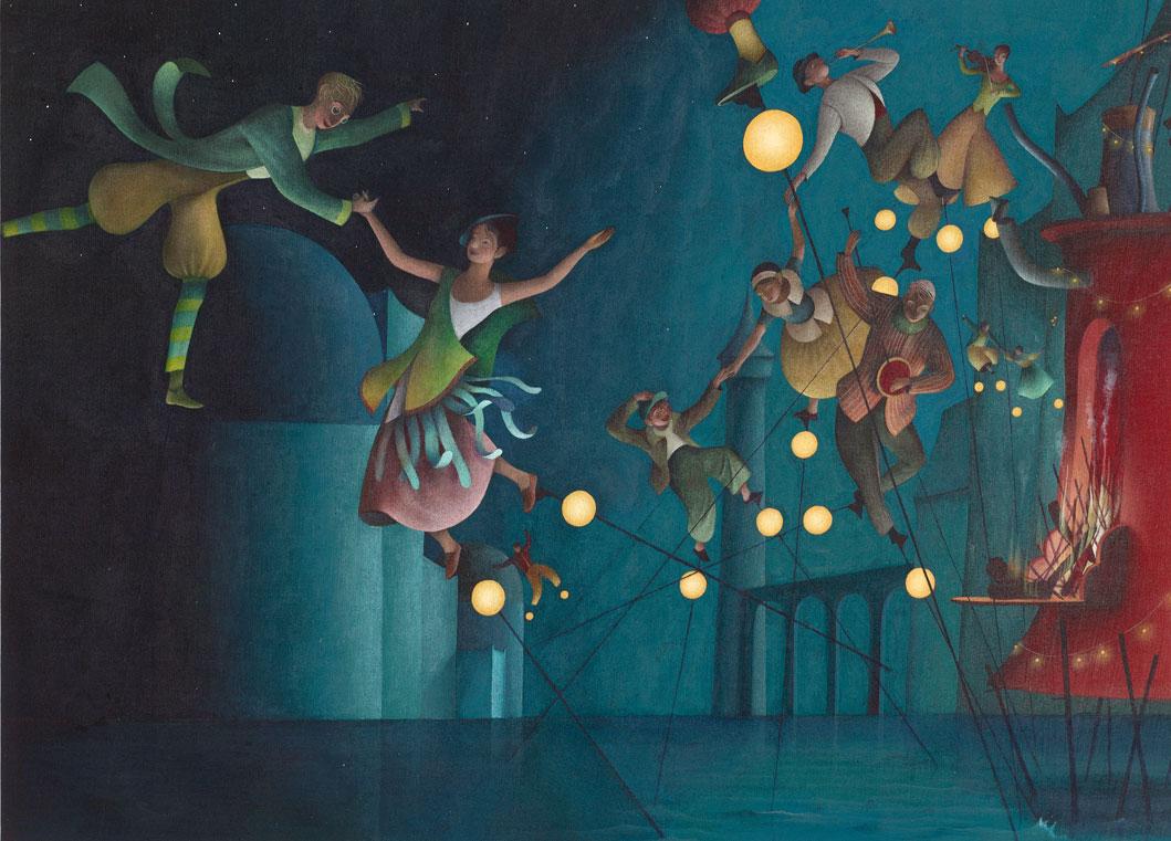 Έργο του Éric Puybaret, του τιμώμενου προσώπου του φετινού illustradays: Φιγούρες που χορεύουν στον αέρα ανάμεσα σε φώτα