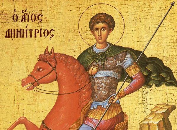 Αγιογραφία του Αγίου Δημητρίου πάνω στο άλογο.
