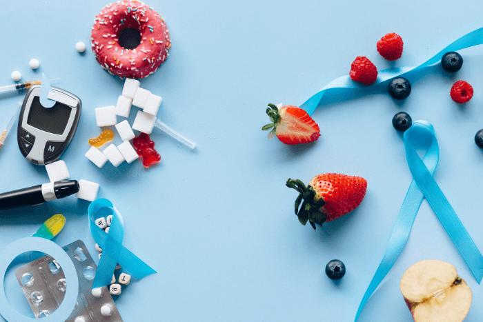 μετρητής αίματος, χάπια, ζαχαρωτά, φρούτα, μπλε κορδέλες