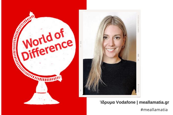 Λογότυπο της Vodafone για το πρόγραμμα world of difference μια υδρόγειος σφαίρα και η φωτογραφία της Δήμητρας Κοντοβά