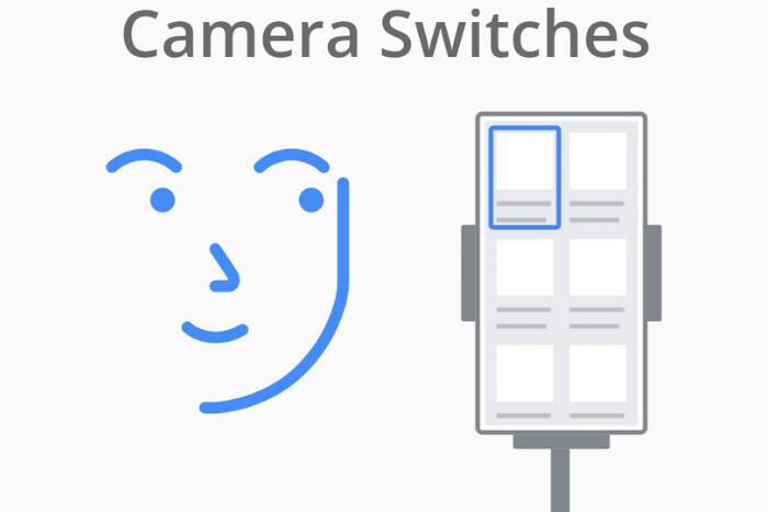 """σκίτσο προσώπου μπροστά σε σκίτσο κινητού και η φράση """"Camera Switches"""""""